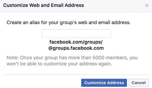 Get a custom URL and email address for your Facebook group.