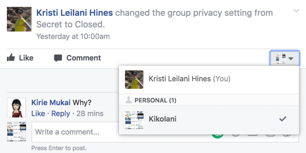 Comment in your Facebook group as your page.
