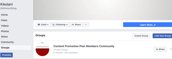 Your linked group will appear on the Groups tab of your Facebook page.