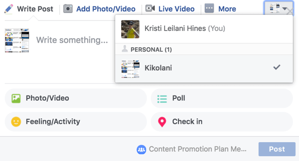 Select your Facebook page when you create a new post in your group.