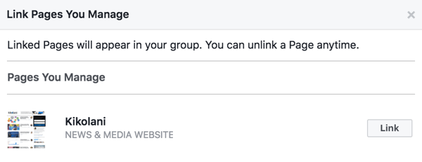 Link your Facebook page to your group.