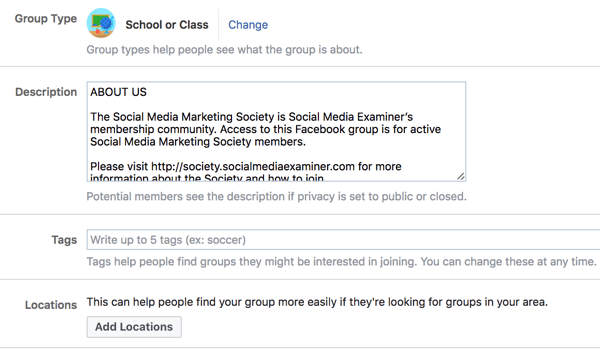 Provide additional details about your Facebook group to make it easier for people to discover it.