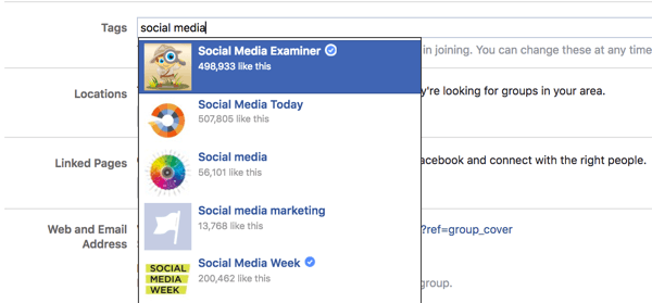 Add up to five tags for your Facebook group.