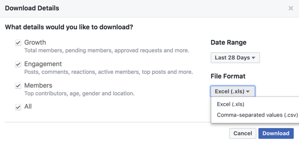 Download insights for your Facebook group.