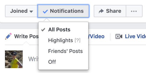Select All Posts from the Notifications drop-down list to turn on group notifications.