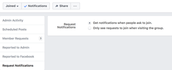 Turn on notifications from people asking to join your Facebook group.