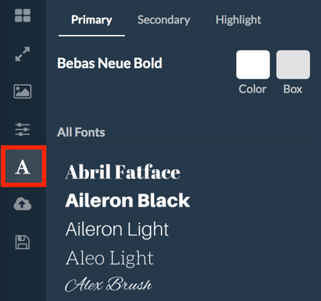 Select fonts for your RelayThat project.