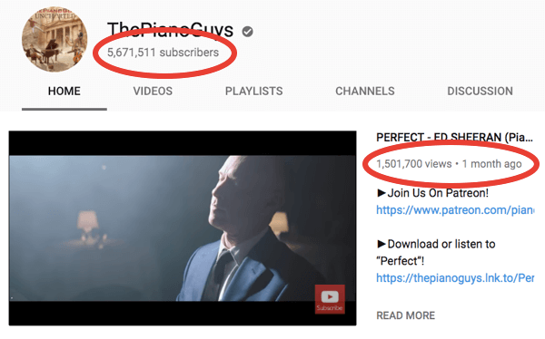 Derral helped The Piano Guys gain over 1 million subscribers on YouTube.