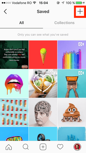 Tap the + sign in the upper right of the Instagram Saved screen.