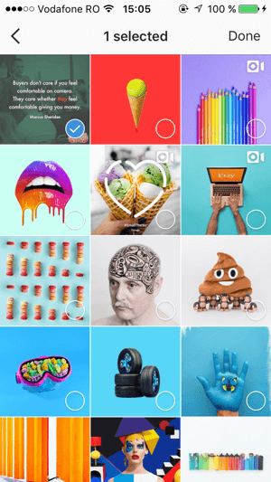 Select any saved posts you want to add to your Instagram collection and then tap Done.