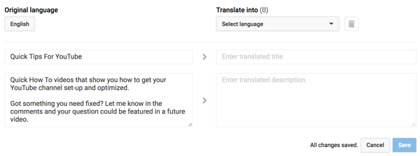 Enter a translated title and description for your YouTube playlist.
