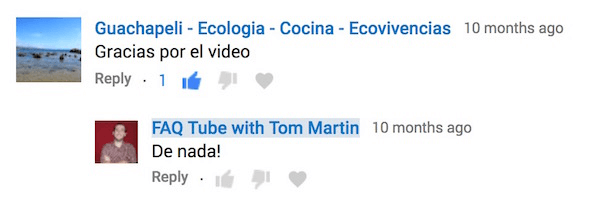 Reply to YouTube comments in the commenter's language.