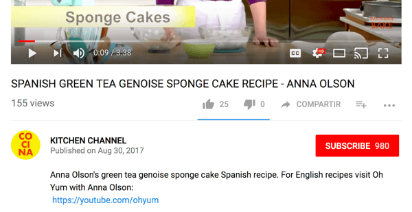 Cocina directs English-speaking audiences to a different cooking channel on YouTube.
