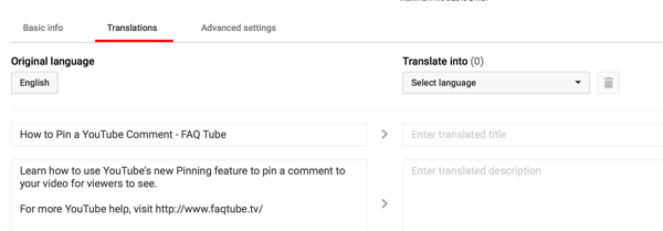 On the Translations tab for your YouTube video, enter a translated title and description.
