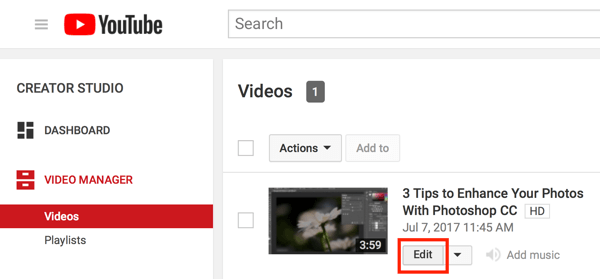 Open Creator Studio and click the Edit button for your video in the Video Manager.