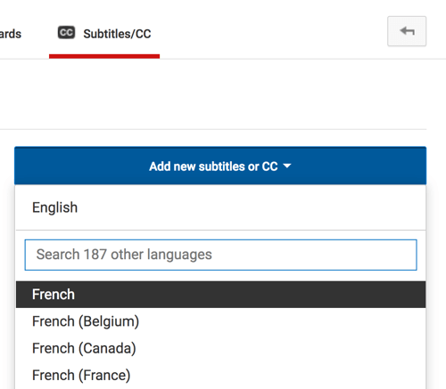 Select the language of your YouTube captions file.