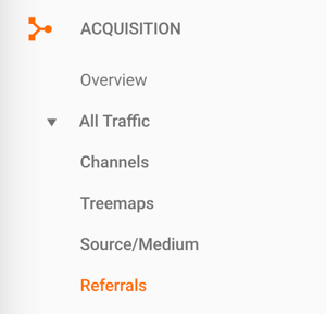 Navigate to Referrals in Google Analytics.