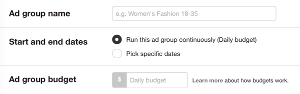 Run the ad group continuously only if you know that you'll monitor it closely; otherwise, set start and end dates.