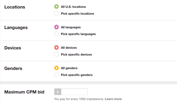 Choosing a maximum CPM bid can help you avoid spending more per 1,000 impressions than you'd like.