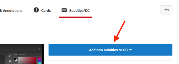 Open your YouTube video in Video Creator and click Add New Subtitles or CC.