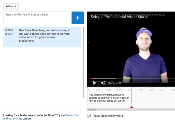 Add subtitles to the video, breaking them up into small, digestible chunks of text.
