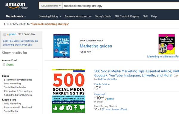 Websites such as Amazon can help you research topics that interest your audience.