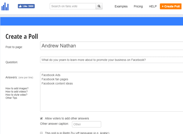 A Facebook poll is one way to ask your target audience what information is valuable to them.