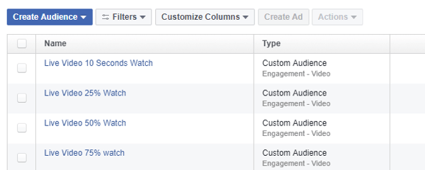 In Facebook Ads Manager, use the Audiences tool to define a retargeting audience based on views of Facebook Live videos.