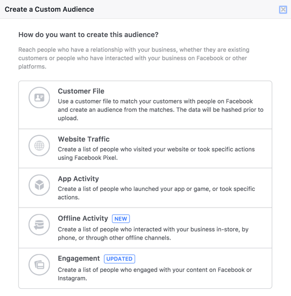 In the Facebook Audiences tool, select Engagement to create an audience of people who have watched your live videos.