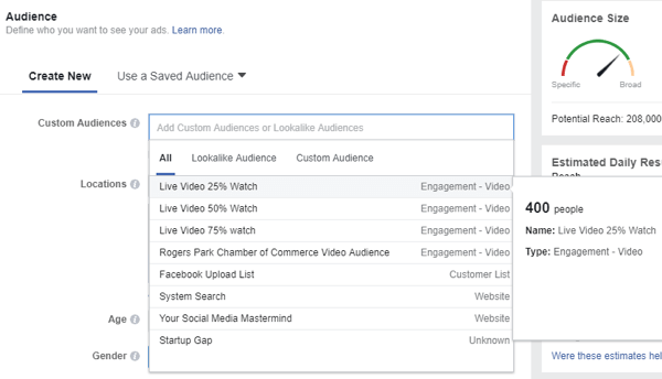 When you select an audience for your Facebook ad, be sure to select the custom audience of people who viewed your live videos.