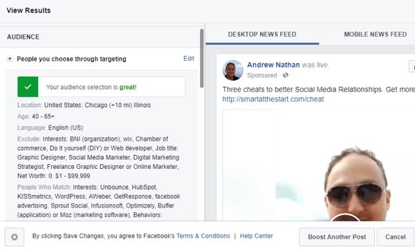 When you boost a post, use the Audience section to narrow the audience and increase the likelihood they'll engage.