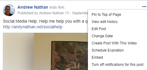 To get the embed code to a Facebook Live video post, click the three dot menu and select Embed.