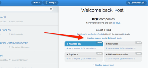 To begin creating a filter in Leadfeeder, create a custom feed.