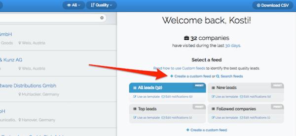Maak een aangepaste feed om te beginnen met het maken van een filter in Leadfeeder.
