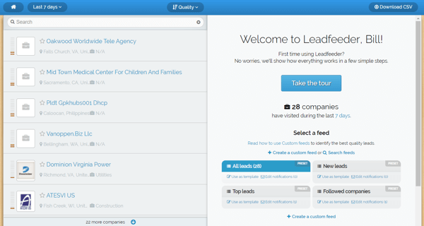 Leadfeeder offers a free trial and you'll see this screen after you sign up.
