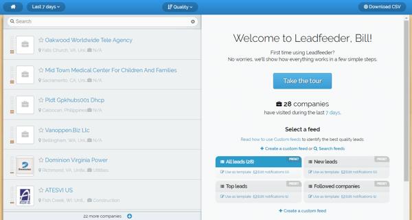 Leadfeeder biedt een gratis proefperiode aan en u ziet dit scherm nadat u zich heeft aangemeld.