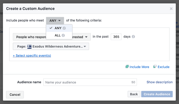 Create custom audiences for events created via your business page.