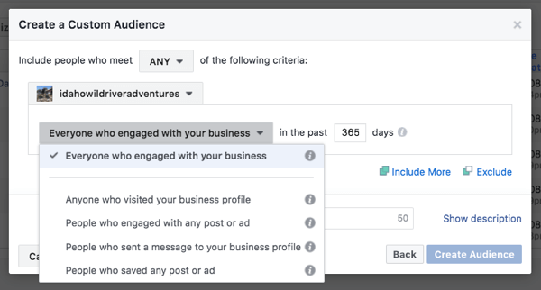 There are four ways to divide Instagram business profile custom audiences.