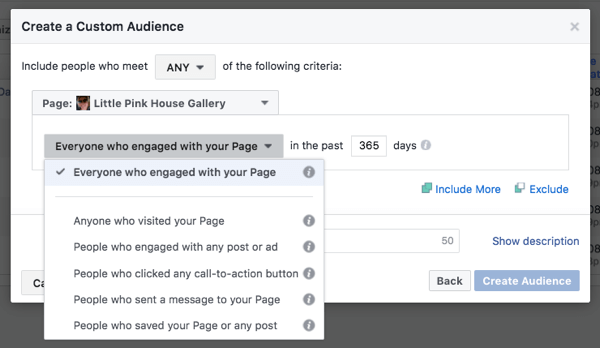 Facebook page engagement targets those who interacted with your business page.