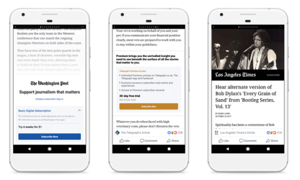 Facebook is testing paywall and subscription models for Instant Articles with a small group of publishers across the U.S. and Europe.