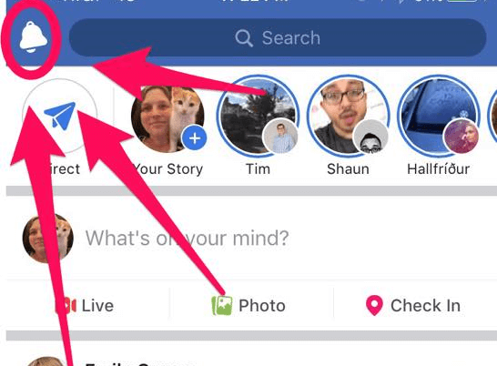 Facebook appears to have moved the Notifications icon from the bottom to the top of the mobile app for iOS.