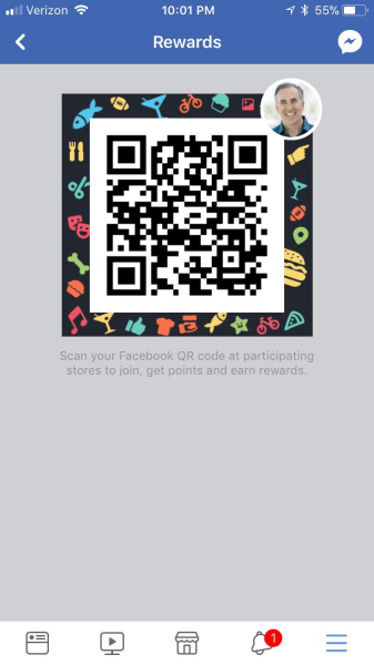 Facebook appears to be expanding an experimental Rewards QR code feature to more mobile app users.