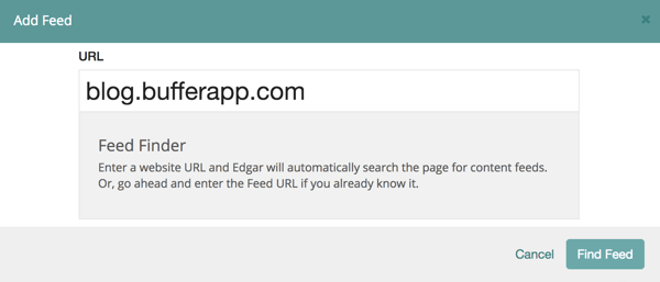 Type in the URL of the website and click Find Feed.