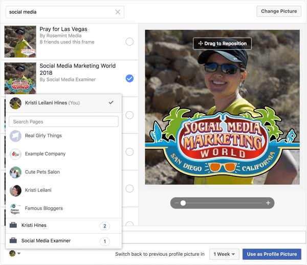 Facebook frames can also be applied to profile and page photos.