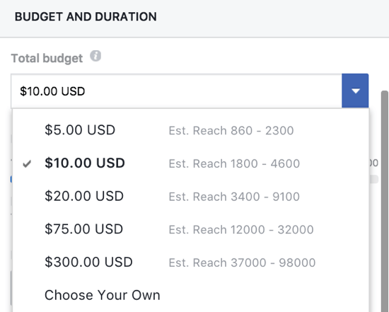 You can manually set a budget for your Facebook boosted post.