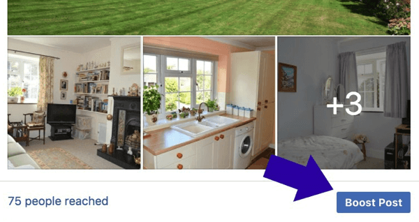 The Boost Post button will appear under most of your Facebook posts.
