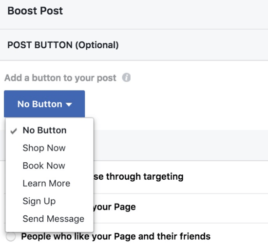 Add a call-to-action button that ties in with the results you want to achieve with your boosted post.
