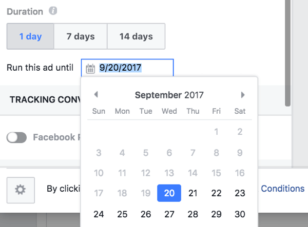 You can manually set the end date for your boosted post promotion.