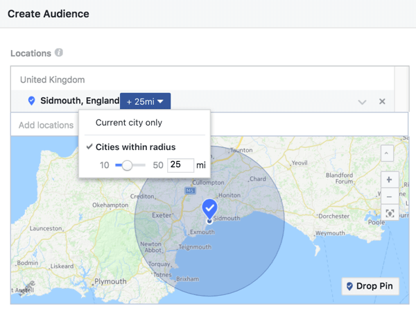Specify the radius of the area that you want your boosted post to cover.