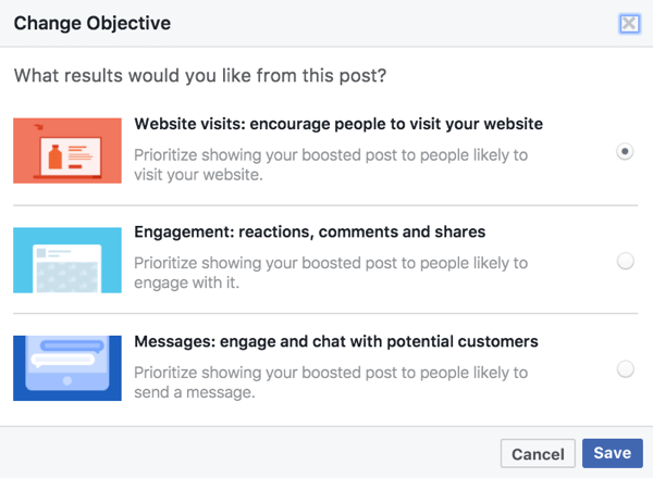 The objective options for boosted posts are based on the media used in your Facebook post.